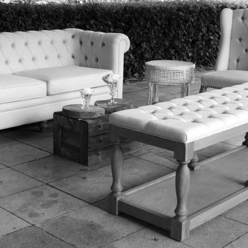 Chesterfield with button ottoman at Goldings vineyard
